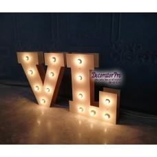 Буква с лампами в ретро-стиле  (объемное двойное)